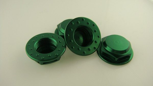 KP-348FN-GRN - 17MM Flanged Wheel Nuts (4) - Fine Thread
