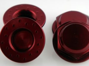 KP-348FN-RED - 17MM Flanged Wheel Nuts (4) - Fine Thread